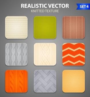 Kolorowe wzory dziewiarskie 9 realistycznych kwadratowych próbek