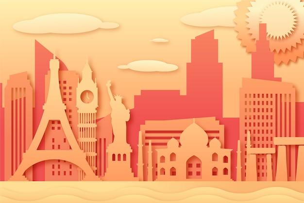 Kolorowe zabytki panoramę w stylu papieru