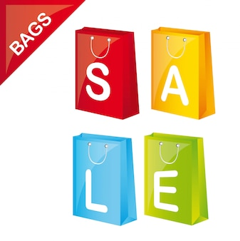 Kolorowe zakupy sprzedaż samodzielnie na białym tle wektor