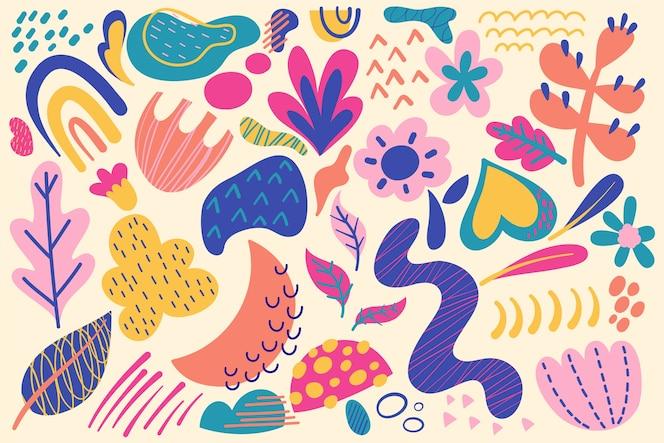 Kolorowe zatłoczone kształty organiczne tło