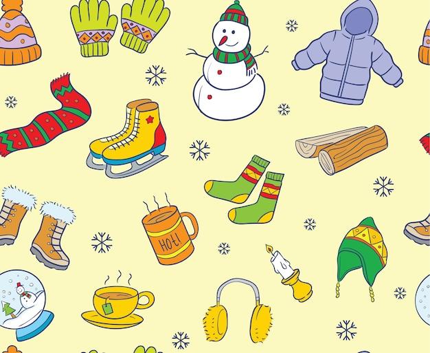 Kolorowe zimowe elementy bez szwu deseń