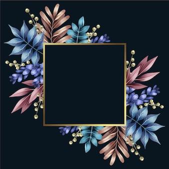 Kolorowe zimowe kwiaty ze złotą ramą