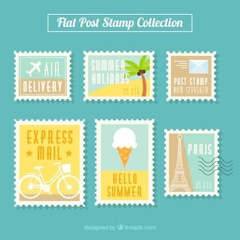 Kolorowe znaczki pocztowe w płaskim stylu