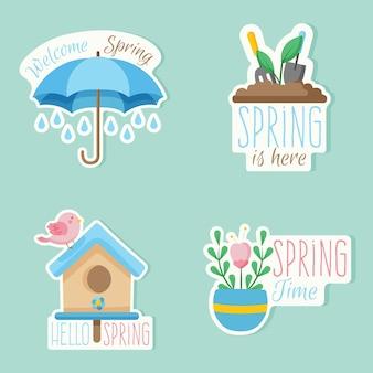 Kolorowe znaczki z wiosennym zestawem tematycznym