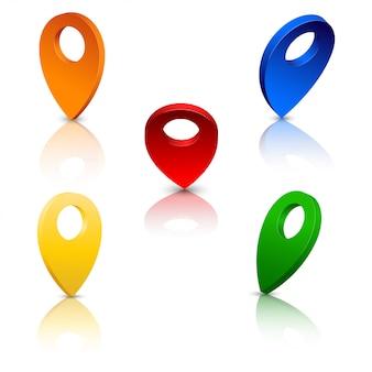 Kolorowe znaki miejsca lokalizacji 3d
