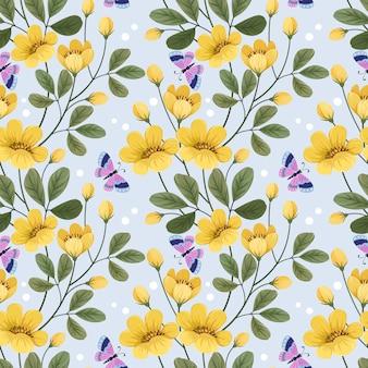Kolorowe żółte kwiaty i motyl wzór na tapetę z tkaniny.