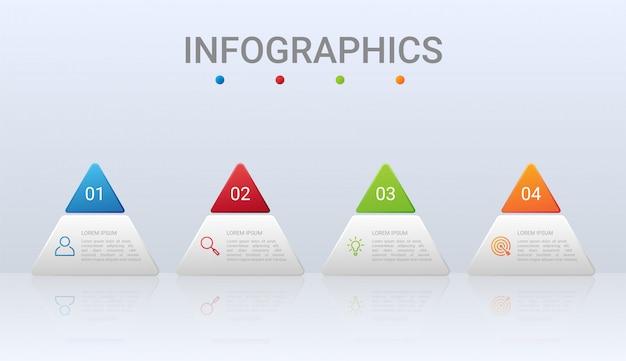 Kolorowej linii czasu infographic szablon z 4 krokami na szarym tle, ilustracja