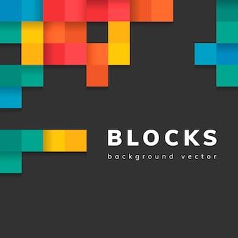 Kolorowi bloki na pustym czarnym tło wektorze