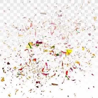 Kolorowi confetti na przejrzystym tle