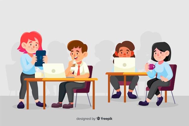 Kolorowi ilustrowani ludzie pracujący przy biurkach