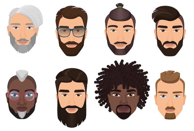Kolorowi kreskówkowi modnisie brodaci mężczyzna facetów avatary z różnymi fryzurami, brodami i wąsami odizolowywającymi.