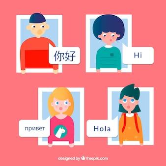 Kolorowi ludzie mówi różnych języki z płaskim projektem