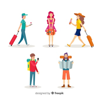 Kolorowi ludzie podróżuje kolekcję