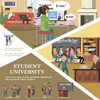 Kolorowi ludzie w płaskim szablonie uniwersytetu ze studentami w klasie stojącymi w pobliżu harmonogramu, przygotowując się do zdania egzaminu i świętując ukończenie studiów