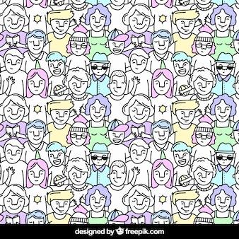 Kolorowi ludzie wzoru z ręka rysującym stylem