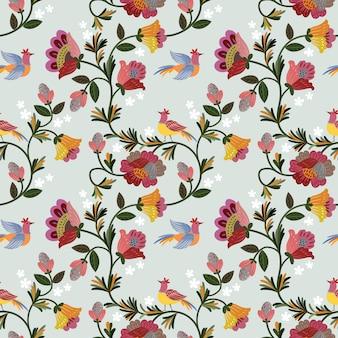 Kolorowi roczników kwiaty projektują bezszwowego wzór.