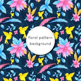 Kolorowy akwarela bezszwowe kwiatowy wzór tła