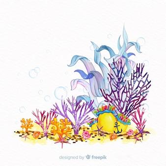 Kolorowy akwarela podwodny koral tło