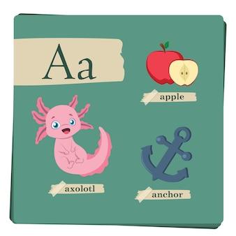 Kolorowy alfabet dla dzieci - litera a