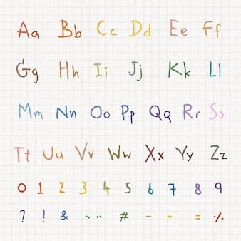 Kolorowy alfabet i numer ustawiony na białym papierze