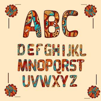 Kolorowy alfabet zentangle