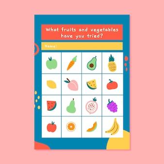 Kolorowy arkusz bingo z jedzeniem