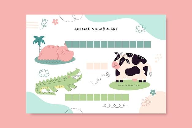 Kolorowy arkusz roboczy zwierząt ze słownictwem doodle