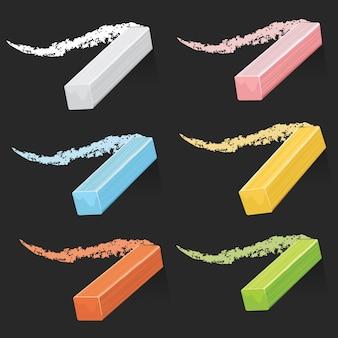 Kolorowy artysta pisze kredą, pastelowe kije z kresek na zestawie tablic