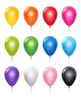 Kolorowy balon. dekoracja urodzinowa 3d realistyczne balony