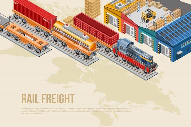Kolorowy baner dla transportu kolejowego