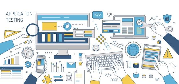 Kolorowy baner z rękami pracującymi na różnych urządzeniach elektronicznych - komputerze, smartfonie, tablecie. testowanie oprogramowania, programów lub aplikacji międzyplatformowych. ilustracja w stylu sztuki linii.