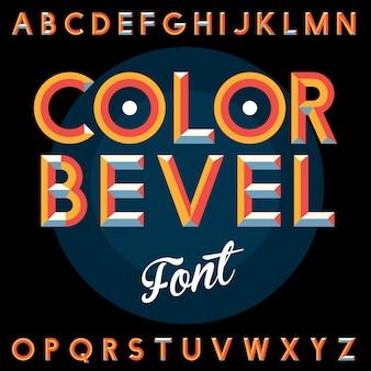 Kolorowy bevel vintage font plakat z alfabetem na czarnej ilustracji