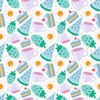 Kolorowy bezszwowe wektor wzór z deserowym jedzeniem i filiżanką na tle