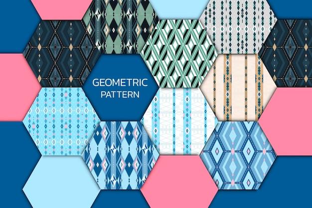 Kolorowy, bezszwowy, geometryczny, wzorzysty zestaw patchworkowy