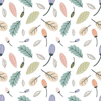 Kolorowy bezszwowy wzór wektorowy z różnymi liśćmi na tle