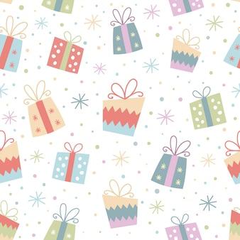 Kolorowy bezszwowy wzór z prezentami.
