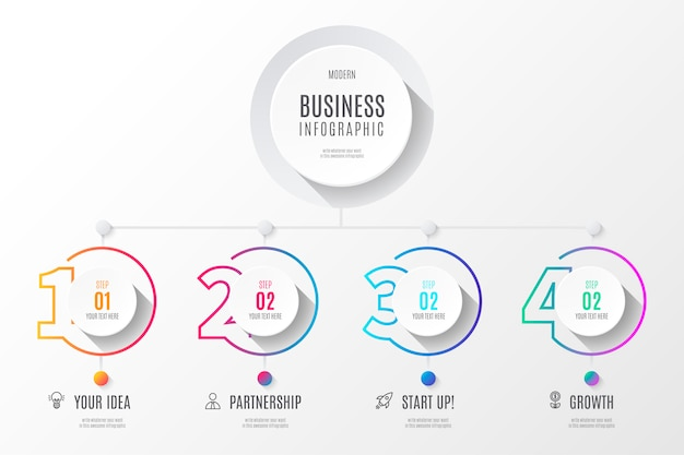 Kolorowy biznes diagram infografiki z numerami