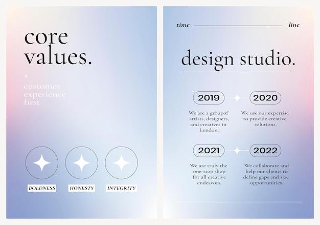 Kolorowy biznes plakat wektor na fioletowym tle gradientu, zestaw podstawowych wartości