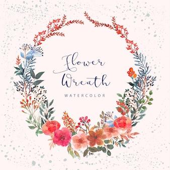 Kolorowy botaniczny kwiatowy wieniec akwarela