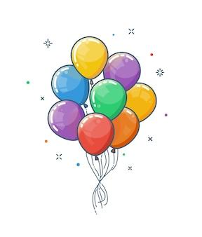 Kolorowy bukiet błyszczących balonów na białym tle