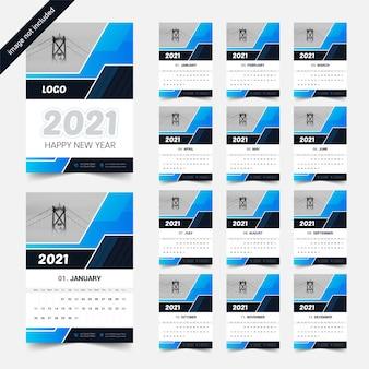 Kolorowy ciemny prosty i przejrzysty projekt kalendarza 2021