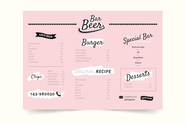 Kolorowy design menu restauracji