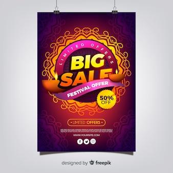 Kolorowy Diwali sprzedaż szablon ulotki z Płaska konstrukcja