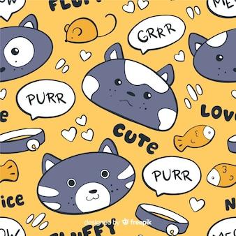 Kolorowy doodle kotów i słów wzór