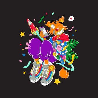Kolorowy doodle-skaczący tygrys