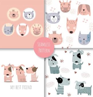 Kolorowy doodle zwierząt wzór