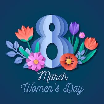 Kolorowy dzień kobiet w stylu papierowym