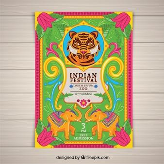 Kolorowy dzień niepodległości indii plakat