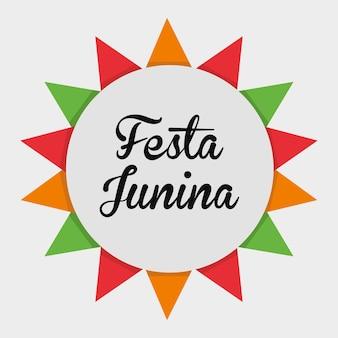 Kolorowy festa junina nad białym tłem