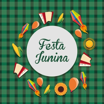 Kolorowy festa junina z powiązanymi ikonami wokoło nad zielonym tłem